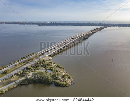 The Melbourne Causeway is a bridge that connects the mainland and downtown Melbourne to the barrier island beaches