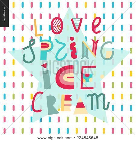 Love spring ice cream lettering on the patterned background
