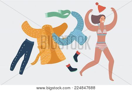 Vector girl take off wearing coat and scarf and cup, in swimsuit get to swim and sunbath. Running woman. Funny female happy characters on white background. Holiday, vacation concept, summer.