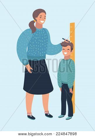 Vector cartoon illustration of measure child. Mother woman check boy high growth by ruler meter. Human characters on isolated white background.