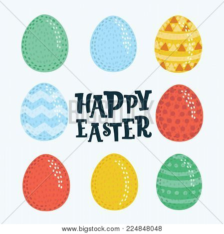 Vector cartoon illustration set of Easter eggs icons. Easter eggs in different colors and pattern. for Easter holidays design on white background. Eggs hunt