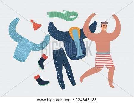 Happy cartoon man taking off work clothes running with joy. Summer vacation or holiday concept. Vector illustration. Seacoast. Human funny character on isolated background.