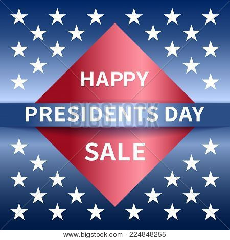 Happy PresidentsDay sale banner with emblem and stars in national colors USA