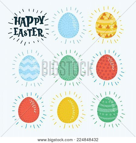Vector cartoon illustration of Happy Easter. Set of Easter eggs with different pattern and colors on a white background. Spring holiday. Cute Happy Easter eggs wit texture. Eggs hunt