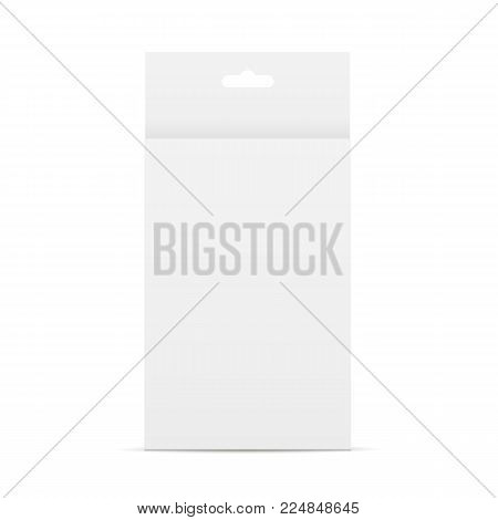 Paper box with hang tab mockup. Template front view for design or branding. Vector illustration