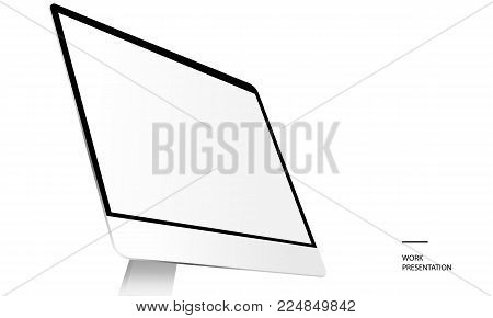 Computer monitor with blank screen isolated on white background. Monitor mockup. Mockup for responsive design. Vector illustration