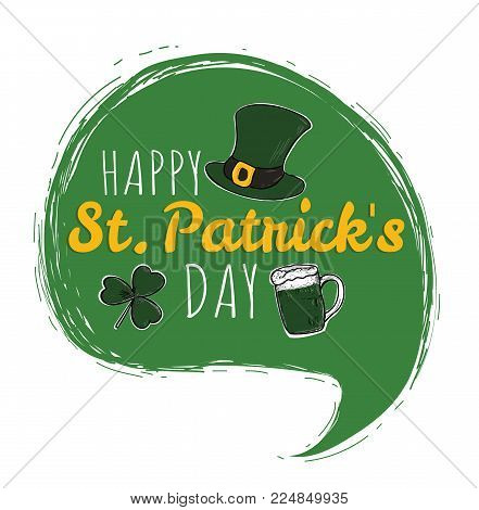 Happy Saint Patrick's Day logotype. St. Patrick's Day hand drawn typography. Hand sketched Irish celebration design. Beer festival lettering typography icon.