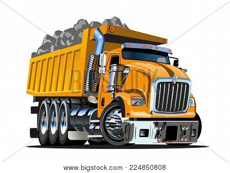 Vector Cartoon Dump Truck. Available EPS-10 vector format separated by groups and layers for easy edit