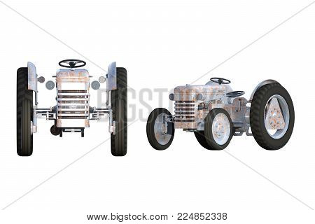 Old rusty farm tractor isolated on white. 3d render