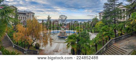SOCHI, RUSSIA - NOVEMBER 28, 2015: Autumn panorama of the Ordzhonikidze sanatorium.