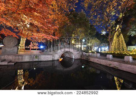 HANGZHOU, CHINA- JAN 20, 2018: Night scene of Xihu Tiandi, a modern entertainment and dining complex located in Hangzhou, China