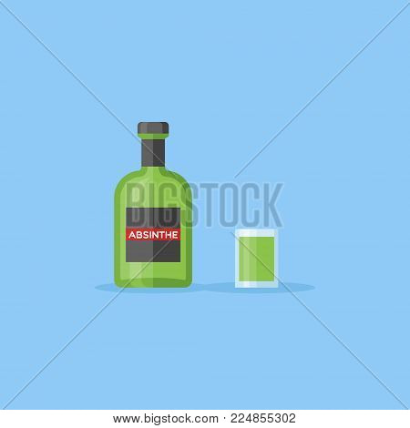 Bottle and shot glass of absinthe isolated on blue background. Flat style vector illustration. poster