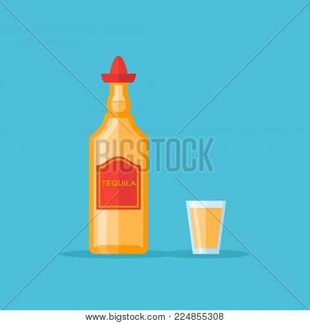 Bottle and shot glass of tequila isolated on blue background. Flat style vector illustration.