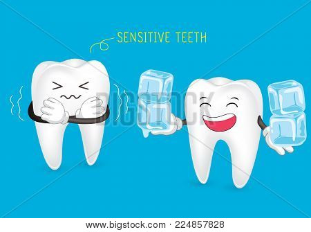 Sensitive teeth. Tooth is so sensitive to coldness, illustration isolated on blue background.