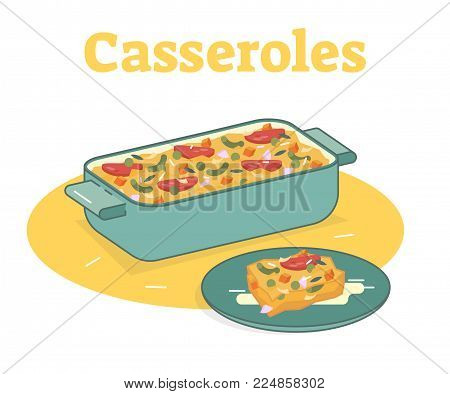 Casserole food vector flat illustration with one piece on a plate