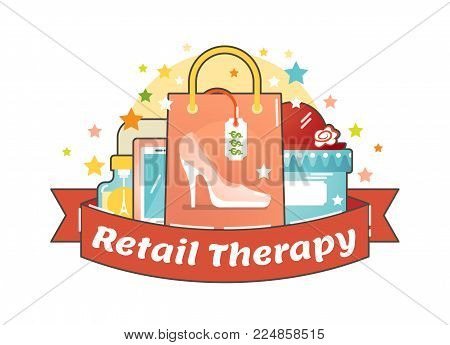 Retail therapy shopping concept, making compulsive purchases in order to improve persons mood. Illustrated vector badge.