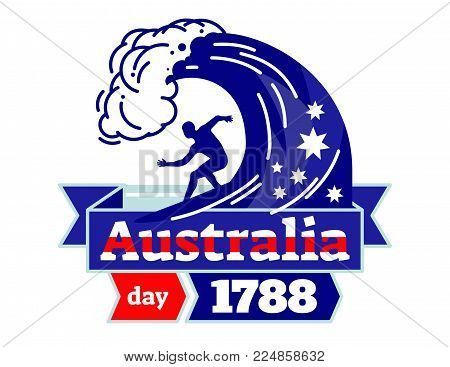 Australia day 1788 illustrated vector logo badge, celebrating National Day of Australia, surfer on a board with ribbon in Australia national colors.