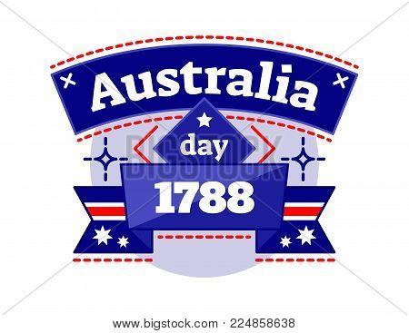 Australia day 1788 illustrated vector logo badge, celebrating National Day of Australia, ribbon in Australia national colors.