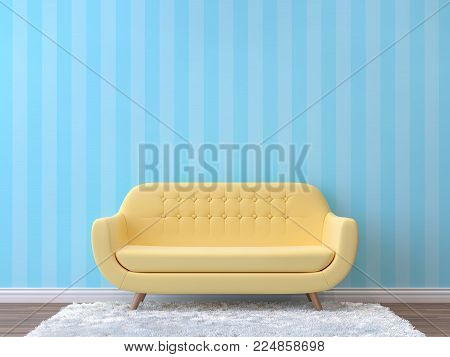Colorful living room with pastel color 3d rendering image.There are minimalist style image , empty wall with blue pattern,wood floor furnished with yellow sofa.