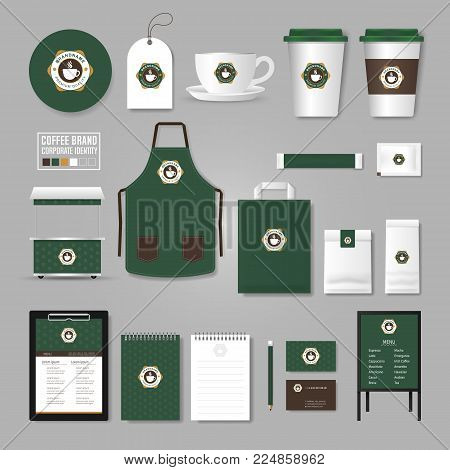 Corporate Identity Template. Logo Concept For Coffee Shop, Cafe, Restaurant. Realistic Mock Up Templ