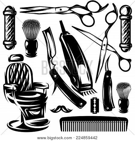 Vector Monochrome Set Of Accessories And Tools In The Barber Shop