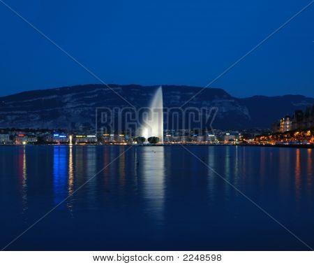 Lake Geneva Night Scene