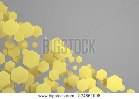 Yellow Hexagons Of Random Size On White Background