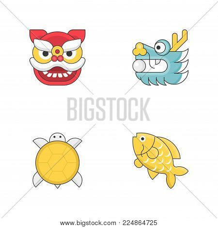 Chinese new year animal sign flat icon set with thin outline, turtle, carp fish, dragon and pearl, lion dance