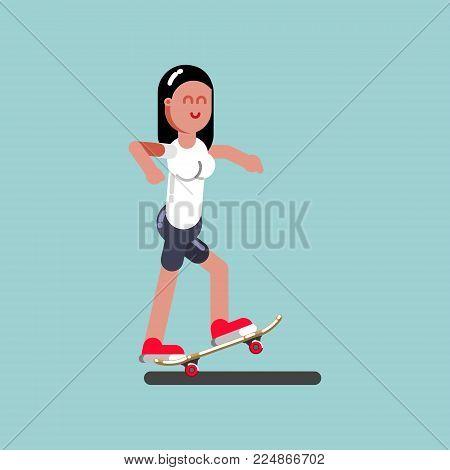 Girl skater doing manual. Vector illustration, EPS 10