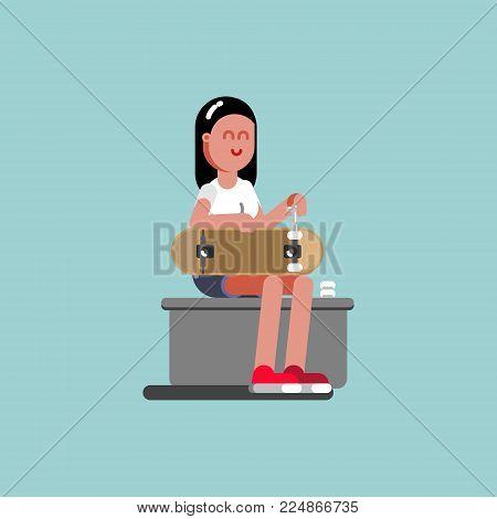 Girl skater puts wheels on her board. Vector illustration, EPS 10