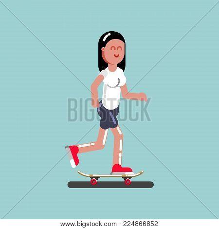Girl skater skating. Excellent Vector illustration EPS 10