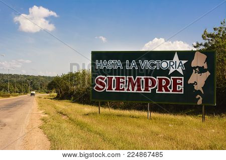 Havana, Cuba - December 7, 2017: Propaganda sign with phrase of Ernesto Che Guevara with text