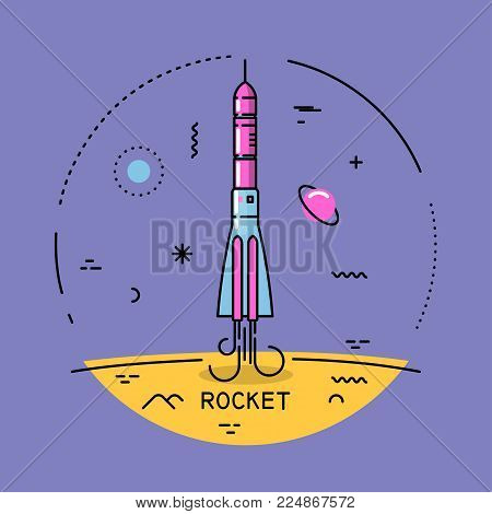 Vector flat line round colorful cosmic illustration of startup rocket. For poster, website, manual.