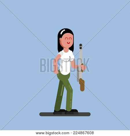 Hunter girl crawl to the target. Hunters isolated on color background. Hunters vector icon illustration.