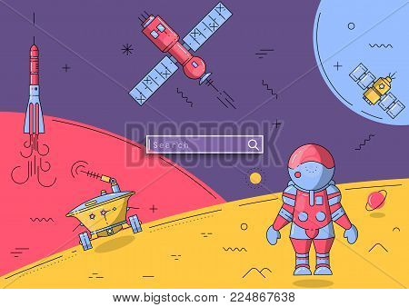 Vector cosmic flat line illustration. Space landscape with an astronaut on the moon and flying spaceships. For web templates, schoolbook, cosmonautics day poster.