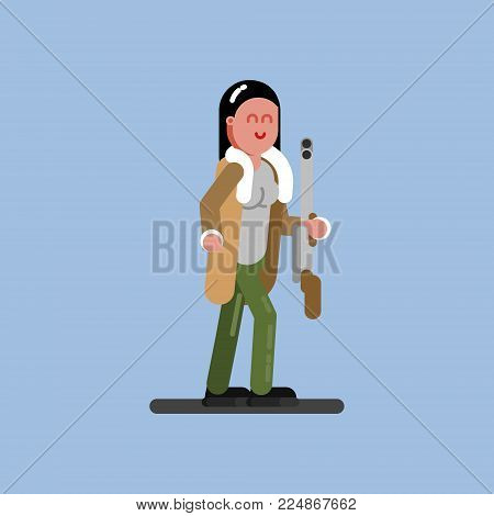 Hunter girl with gun and jacket. Hunters isolated on color background. Hunters vector icon illustration.