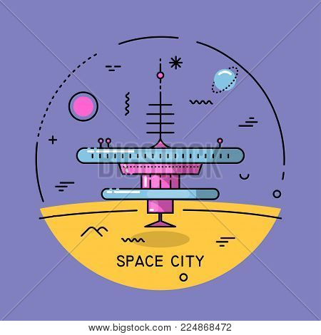 Vector flat line round colorful cosmic illustration. Space city on the Moon. For poster, website, manual.