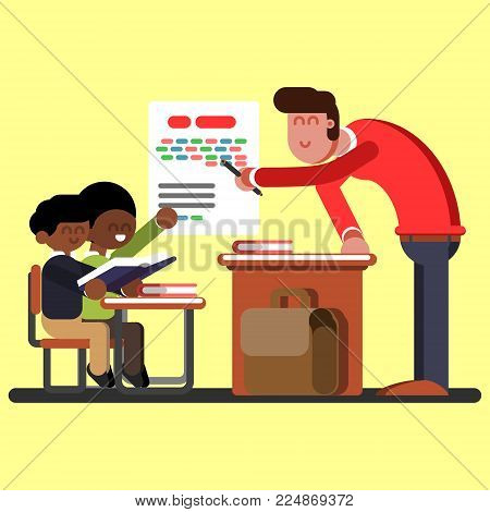 Two afro american boys on classes. Vector illustration, EPS 10