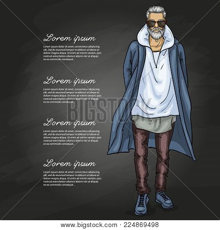 Vector man model dressed in jeans, hoody, shirt, and long coat on a dark background