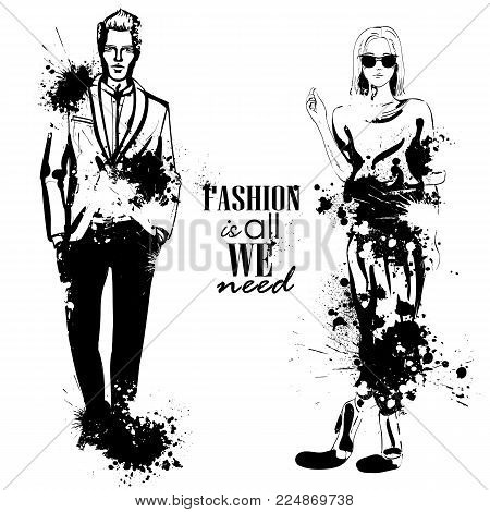 Vector woman and man fashion models, hipster look, splash stile. Fashion is all we need