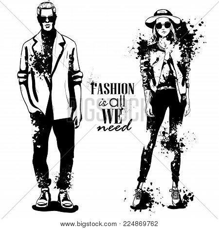 Vector woman and man fashion models, spring hipster outfit, splash stile. Fashion is all we need