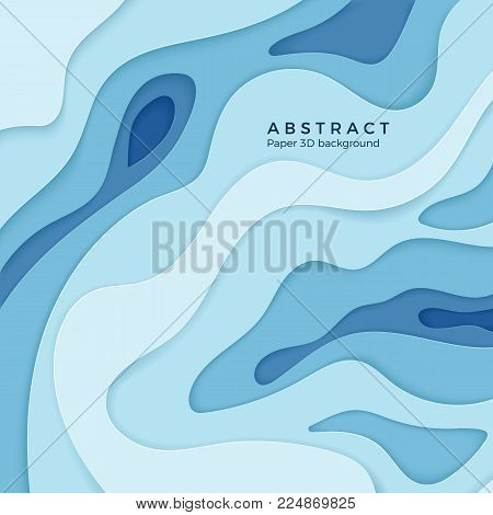 Abstract wavy paper 3d diffusive level element for design banner, poster and brochure. 3d papercut decoration textured with curved layers. Vector background