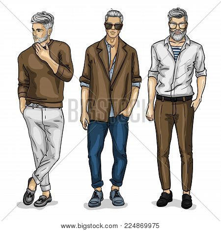 Vector young man models dressed in pants, sketch, spring outfit