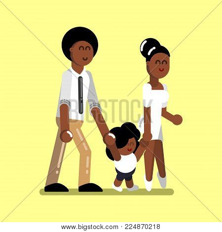Young afro american family with girl. Vector illustration, EPS 10