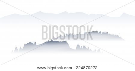 Vector illustration: Silhouettes of hills with pine at foggy morning