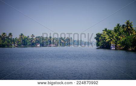 Panaromic View Of Backwaters In Alleppey, Kerala, India.