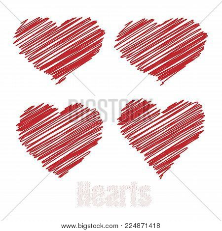 Scribble hearts, Red drawings hearts, vector illustration.