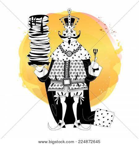 King wearing a crown and royal mantle, holds a stack of pancakes. Happy pancake Day! Black and white. Vector illustration.
