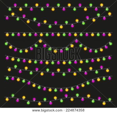 Colorful light lamps garlands set for Mardi Gras carnival. Stock vector illustration.