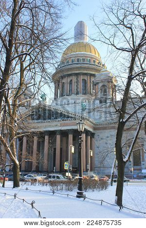 Saint Isaac's Cathedral Building Close Up View in St. Petersburg, Russia. Russian Orthodox Basilica and Museum, Famous Cultural Travel Landmark. Neoclassical Architecture Style Monument Winter Scene.